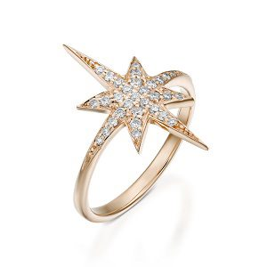 Diamonds star ring model North star - rose gold