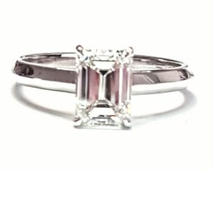 Emerald cut diamond solitaire engagement ring model Mona