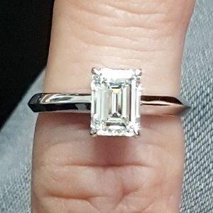 Diamond emerald cut solitaire ring model Mona