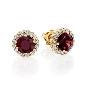 Rhodolite Garnet flower halo earrings model Royal