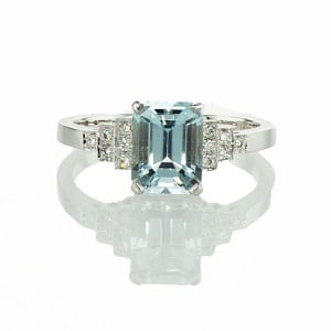 Aquamarine & diamonds ring model Princess of Sussex
