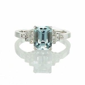 Aquamarine & diamonds ring model Princess of Sussex