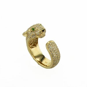 Emeralds diamonds open ring model Jaguar