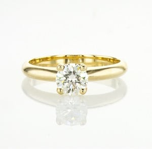 Diamond solitaire engagement yellow gold ring model Korra
