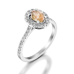 Morganite & diamonds ring model Moran
