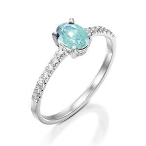 Aquamarine & diamonds ring model Adi