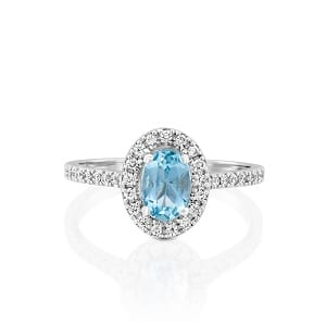 Aquamarine & diamonds ring model Moran