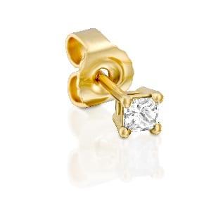 Princess cut diamond stud earring piercing