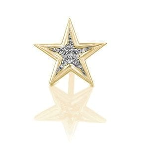 Diamonds star earring piercing - yellow gold