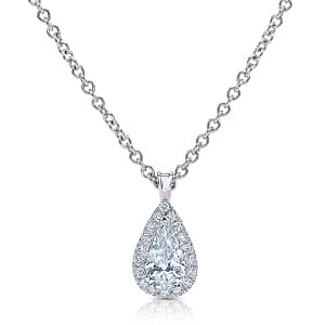 Pear-shaped halo diamonds white gold pendant model Osnat
