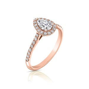 Pear shape diamond halo diamonds rose gold ring model Osnat