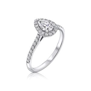 Pear shape diamond halo diamonds white gold ring model Osnat