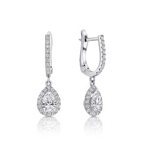 Dangle pear diamonds white gold earrings Osnat