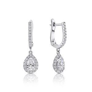 Dangle pear diamonds white gold earrings Osnat