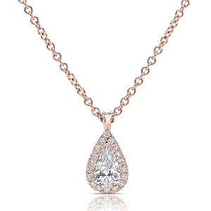 Pear-shaped halo diamonds rose gold pendant model Osnat