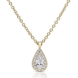 Pear-shaped halo diamonds yellow gold pendant model Osnat