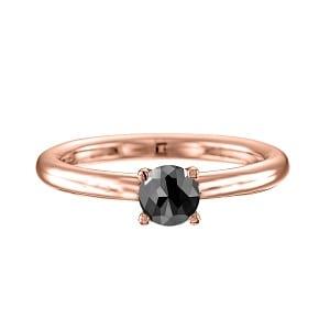 One carat black diamond solitaire rose gold ring Tamar