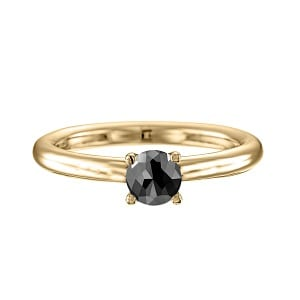 One carat black diamond solitaire yellow gold ring Tamar