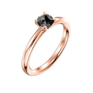 0.60 carats black diamond solitaire rose gold ring Tamar