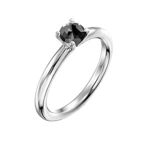 0.60 carats black diamond solitaire white gold ring Tamar