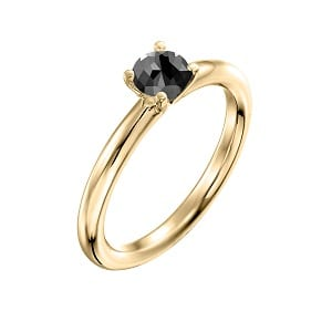 0.60 carats black diamond solitaire yellow gold ring Tamar