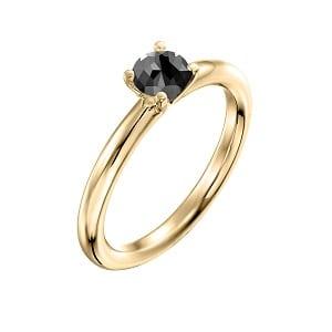 0.60 carats black diamond solitaire yellow gold ring Tamar
