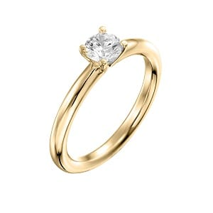 Diamond solitaire engagement yellow gold ring model Tamar
