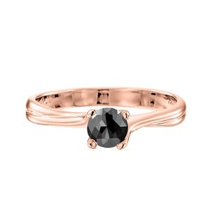 Black diamond one-carat solitaire rose gold ring Adriana