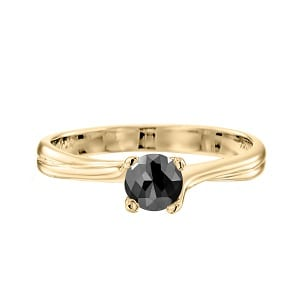 Black diamond one-carat solitaire yellow gold ring Adriana