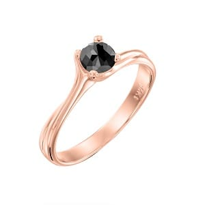 Black diamond 0.60 carats solitaire rose gold ring Adriana