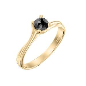 Black diamond 0.60 carats solitaire yellow gold ring Adriana