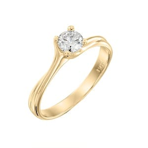 Diamond solitaire engagement yellow gold ring model Adriana