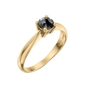 Black diamond solitaire yellow gold ring royal 0.60 carats. A thin ring that rises up as a sharp tip, set with a natural diamond.