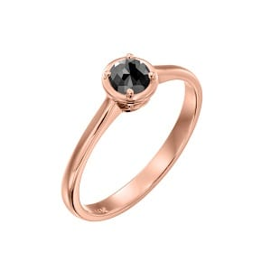 Black diamond solitaire rose gold ring 0.60 carats Adriana