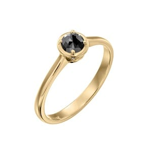 Black diamond solitaire yellow gold ring 0.60 carats Adriana