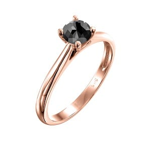 Cathedral solitaire ring rose gold 0.60 black diamond