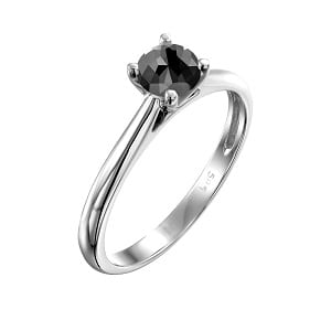 Cathedral solitaire ring white gold 0.60 black diamond