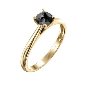 Cathedral solitaire ring yellow gold 0.60 black diamond