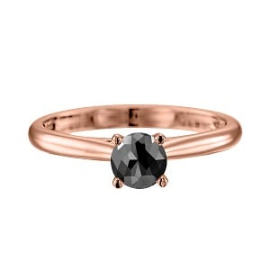 Cathedral solitaire ring rose gold with black diamond