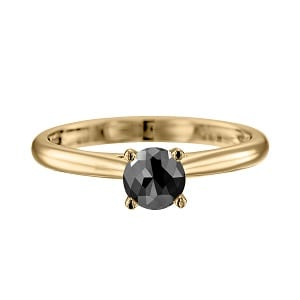 Cathedral solitaire ring yellow gold with black diamond