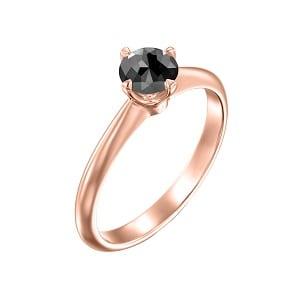 Solitaire rose gold ring black diamond 0.60 carats Korra