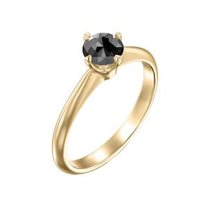 Solitaire yellow gold ring black diamond 0.60 carats Korra