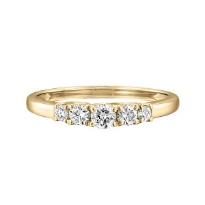 Five diamonds yellow gold ring model Lucia