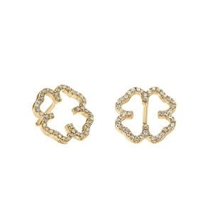 Diamonds clover earrings yellow gold