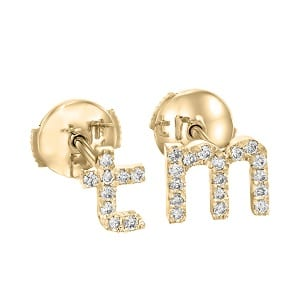 Diamonds English Alphabet yellow gold earrings