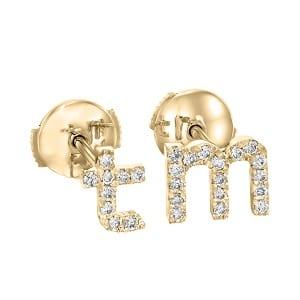Diamonds English Alphabet yellow gold earrings