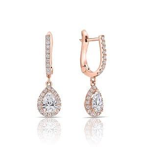Dangle pear diamonds rose gold earrings Osnat