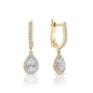Dangle pear diamonds yellow gold earrings Osnat
