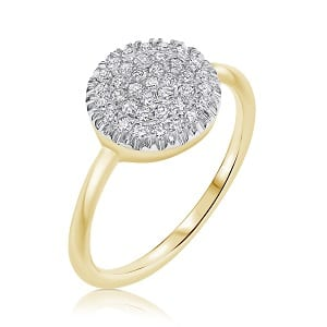 Diamonds yellow gold ring model Berry W