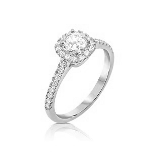 Cushion diamond halo diamonds white gold ring model May